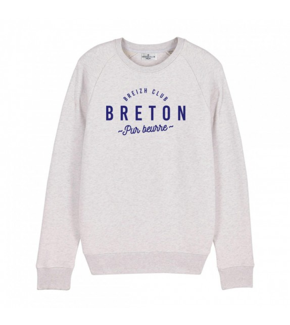 Sweat Breton pur beurre blanc chiné M