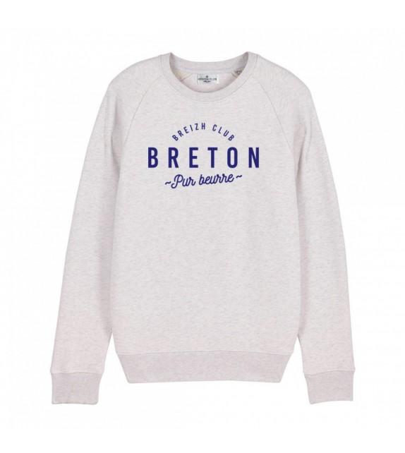 Sweat Breton pur beurre blanc chiné XL