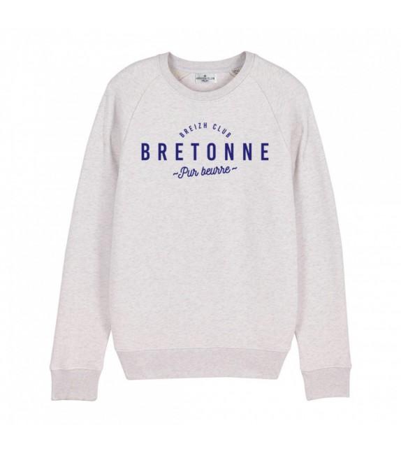 Sweat Bretonne pur beurre blanc chiné XS