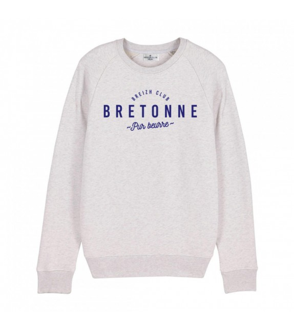Sweat Bretonne pur beurre blanc chiné XL