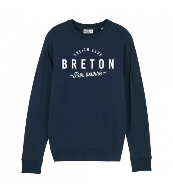 Sweat Breton pur beurre bleu marine XL