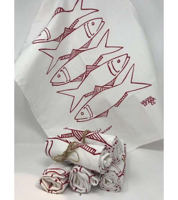 Torchon poisson rouge tête bêche VL LM