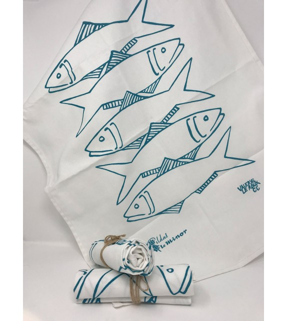Torchon poisson bleu tête bêche VL LM
